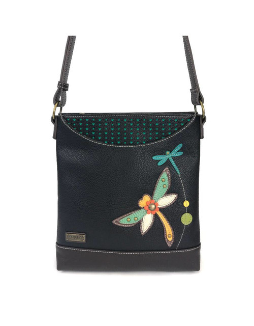 Unique, chic, fun Features Dragonfly with stitched pattern Front slide pocket Zippered main pocket Miniature heart pattern Rear slide pocket