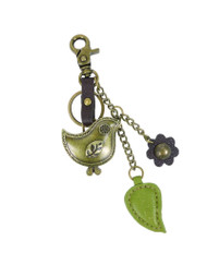 Hold your keys with style Comes in individual packaging  Antique bronze toned bird keychain Comes with bonus flower and leaf charms as shown Easy to attach onto a bag, luggage, or keys