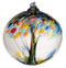 3 inch Kitras Glass Ball in decorative blues and yellows.