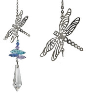 """A large crystal is topped by smaller crystals and a silver dragonfly.  Dragonflies represent change - they remind us not to fight what comes, but travel with the wind."""" This dragonfly tops a cluster of crystals that sparkle and shine in the sun.  Works equally well as a sun catcher or Christmas ornament. Hang it in your office or dorm room - it's especially beautiful when hanging in the window or in front of a light.  Recommended for indoor use."""