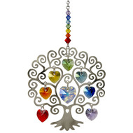 This silver Tree of Life is embellished with crystals from Swarovski®.  A wide-ranging symbol, the Tree of Life can represent strength, beauty, bounty and redemption, making it an excellent gift for almost any occasion. In this design, a larger central crystal heart is surrounded by a rainbow of smaller crystal hearts. All are faceted for maximum shimmer and shine. This is a real stunner.