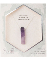 Amethyst | Stone of protection. Brings serenity and calmness. Has a centering effect. Assists in good decision making. symbolizes peace and unification Grounding, strengthening, and organically cut semi precious gemstones to mix and match with any item from your wardrobe. A refined token of the earth for everyday wear. Each necklace comes with the description of the stone meaning printed on recycled linen cards.