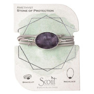 Amethyst | Stone of protection. Brings serenity and calmness. Has a centering effect. Assists in good decision making. symbolizes peace and unification Soft buttery vegan suede and rich semi precious stones intertwine around your wrists or neckline. Effortlessly converts from bracelet to necklace.  Can be wrapped 3 times as a bracelet. Sliding magnetic clasp adjusts to wear as a necklace.