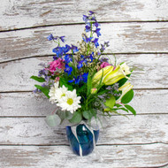Blue and Silver Vase Arrangement