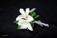 White Orchid Boutonniere - Silver Wrap