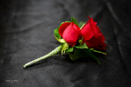 Red Rose Boutonniere - Silver Accent