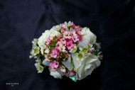 White Roses with Pink Kalanchoe Corsage