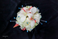 White Corsage with Coral and Blue Accents