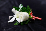 White Orchid, Rose, and Coral Accent Boutonniere