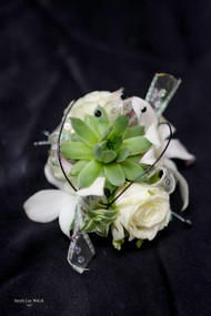 White Roses and Succulent, Black Accent Corsage on Keepsake Bracelet