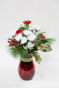 Red carnations and white daises in a red vase with gold accents.