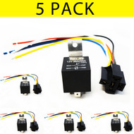 5-Pack Equinox Car Truck 12V-A 12V Volt DC 40A Relay & Socket SPDT 5Pin w/ Wire