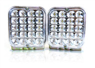 "2 x Equinox 5"" Square Sealed Trailer Truck LED Surface Mount Tail Lights (White)"