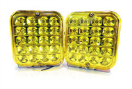 "2 x Equinox 5"" Square Sealed Trailer Truck LED Surface Mount Tail Lights (Amber)"