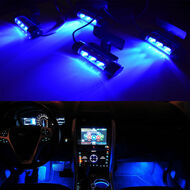 4 x Equinox 3-LED SMD Glow Interior Decorative Lights + Switch (Blue)
