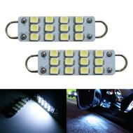2 x Equinox 42mm to 44mm Rigid Loop 12-SMD LED Bulbs (White, 211-2, 212-2, 214-2, 560, 561, 562, 569, 578)