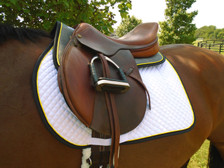 Dark Grey with Black Trim and Yellow Piping Horse Suede Half Pad Front View