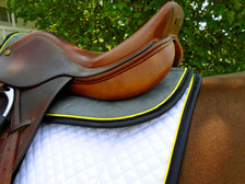 Dark Grey with Black Trim and Yellow Piping Horse Suede Half Pad Back View