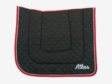 "Wilker's Dressage ""Winning Colors"" Black with Red Trim and White Piping with Embroidered Text Front View"
