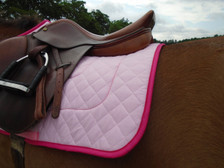 Pink with Raspberry Trim Horse Saddle Pad Back View