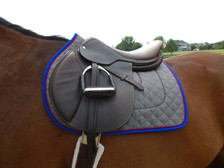 Charcoal with Royal Blue Trim and Red Piping Horse Saddle Pad Left View