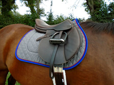 Charcoal with Royal Blue Trim and Red Piping Horse Saddle Pad Right View