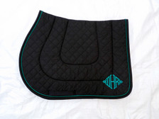 Black Embroidered Saddle Pad with Black Trim and Teal Piping Side View