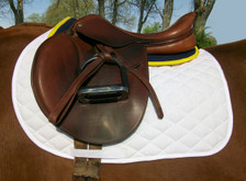Navy with Yellow Trim Horse Half Pad Side View