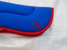 Wilker's Style 14BP Half Pad Royal Blue with Red Trim with Embroidery Close Up