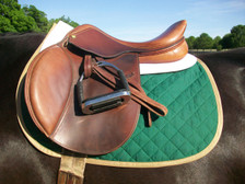 Hunter Green with Tan Trim Horse Baby Pad Side View