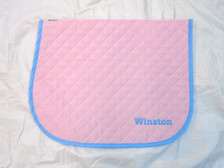 Pink with Light Blue Trim Horse Baby Pad with Embroidery Text Front View