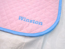 Pink with Light Blue Trim Horse Baby Pad with Embroidery Text Close Up