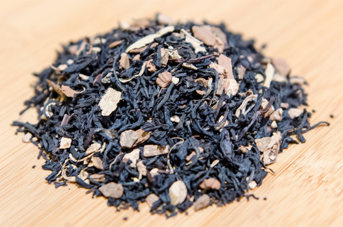 QAI Organic Certified blend of black tea, cinnamon, ginger root, and cardamom.  Long lasting and refreshing aftertaste.  Blended in America.
