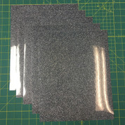 "Black Silver Siser Glitter Five (5) 10"" x 12"" Sheets"