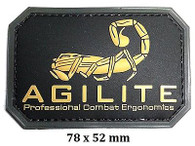 """AGILITE"" Logo Airsoft PVC Velcro Patch (AF-PA007) (Tan / Black)"