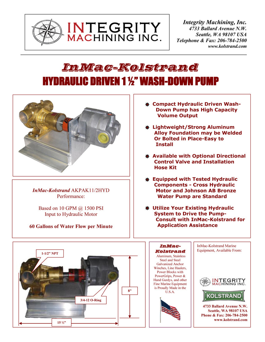 InMac-Kolstrand Hydraulic-Driven 1 1/2 Inch Wash-Down Pump - 60 GPM Flow