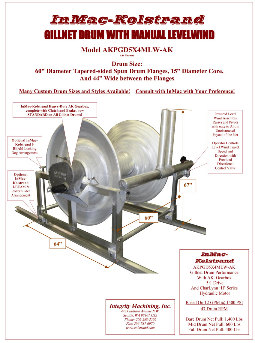InMac-Kolstrand Gillnet Drum Assembly - CUSTOMIZE Your Net Drum with your  Choice of Drum, Level Wind and/or I-Beam Slider Arrangement