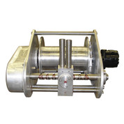 Kolstrand AKPW12D12W-ULW special aluminum winch with diamond screw level wind and larger drum core with slip-ring access-with manual drum ratchet and dog-no hydraulic brake assembly