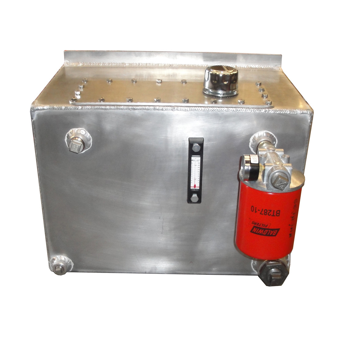InMac-Kolstrand Aluminum Hydraulic Oil Reservoir-20 Gallon Capacity with  Shut-off Valve, Drain Valve, Oil Level & Temperature Gauge, Return Line