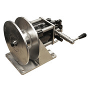 Kolstrand Ssngle spool stainless steel 'DINGLEBAR' rail-mount power gurdy/winch with rotary control valve