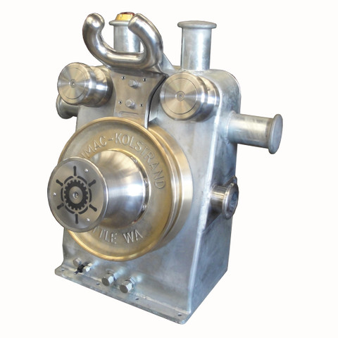 Kolstrand 'Purse Dominator' AKPSW20DD-BRZ-DIRECT Steel Galvanized Purse Seine Winch equipped with Direct-Drive Motor, with 20 Inch Bronze Sheaves and Steel Flamesprayed Gypsy Head, with E-STOP Emergency Kill Switch installed into the Horn