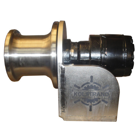 Kolstrand 5 inch stainless steel capstan winch with bolt-down style stainless steel frame and stainless steel gypsy head