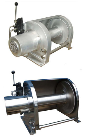 """The J.K. Fabrication Direct Drive Aluminum and Stainless Steel Anchor Winch is constructed to provide many years of reliable service, being built with the finest Marine Grade Materials and utilizing the proven RE Series of hydraulic motors from White Hydraulics. The Winch is designed to haul (or pay-out) rope (or cable) by the rotation of the hydraulic powered drum. It is important that the Anchor Winch be mounted """"in-line"""" with the vessel Bow Roller, so that the incoming rope (or cable) spools onto the winch drum as evenly as possible.  CAUTION AS WITH ANY WINCH OR HOIST, EXTREME CARE MUST BE FOLLOWED TO PREVENT INJURY WHILE IN USE. DO NOT OPERATE THE J.K. FABRICATION ANCHOR WINCH IN AN UNSAFE MANNER AT ANY TIME."""