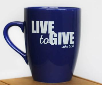 Blue Mug - I Live to Give