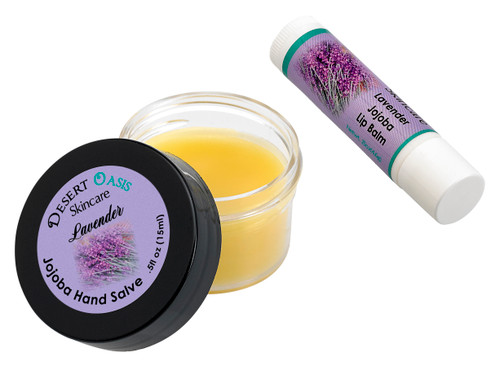 Jojoba Oil Lavender Travel Size Hand Salve and Lip Balm, all natural, cold pressed jojoba oil, mildly scented with Lavender, Salve (0.5 oz/15 gm) Lip balm (.15 oz/4.6 gm) 2 units