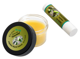 Jojoba Oil Unscented Travel Size Hand Salve and Lip Balm, all natural, cold pressed and undeoderized jojoba oil, unscented, Salve (0.5 oz/15 gm) Lip balm (0.15 oz/4.6 gm) 2 units