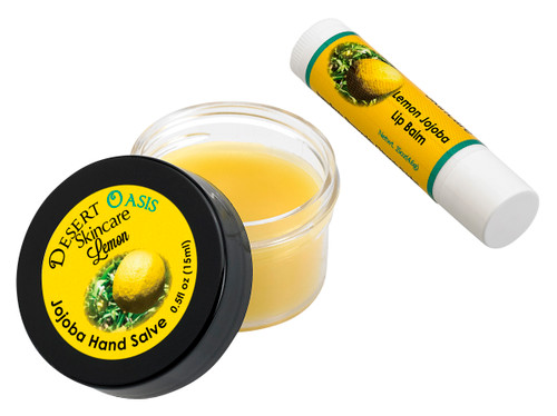 Jojoba Oil Lemon Travel Size Hand Salve and Lip Balm, all natural, cold pressed and undeoderized jojoba oil and mildly scented with Lemon, Salve (0.5 oz/15 gm) Lip balm (.15 oz/4.6 gm) 2 units