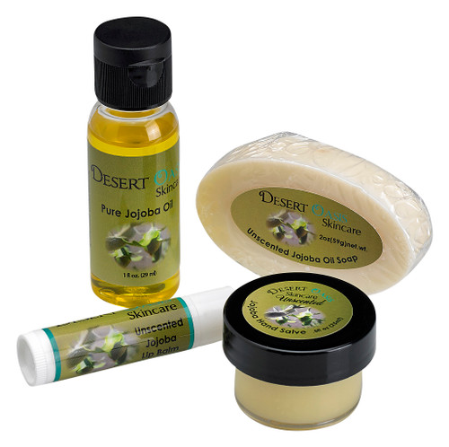 Travel Pack 4 Unscented Jojoba Oil based Products in clear travel bag for skin, lips, hair and nails