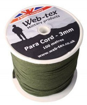 Webtex 100m Roll Of 3mm Para Cord In Olive Green
