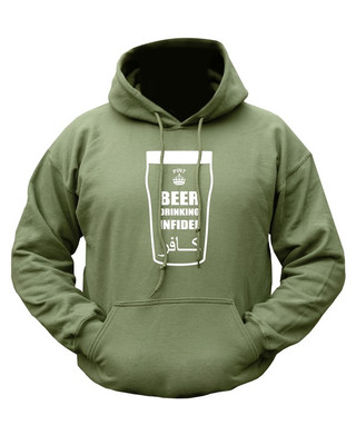 Kombat Beer Drinking Infidel Hoodie in Green